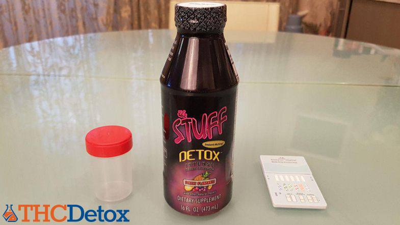 the stuff detox drink, urine container and test device