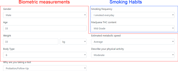 how to use thc drug test calculator